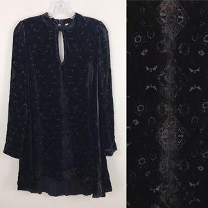Free People Black Velvet Burnout Tunic Dress S